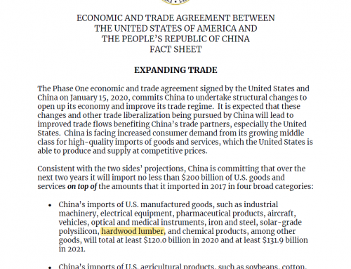 China Agrees to Purchase Additional Hardwoods in Phase 1 Trade Agreement